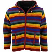 Wool Knit Fleece Lined Hooded Jacket LoudElephant Hippy Festival Jumper Zipped