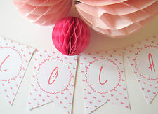 Personalised Pink Flamingo Bunting. Nursery | Baby Shower | Hen Do | Party Decor