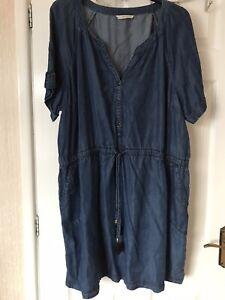 Plus Size Ladies Drawstring Tassel Dress Blue Denim Button Dress Plus Size 22