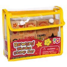 Ricompensa in LEGNO STAMP Set-bambini insegnante motivazionali TIMBRI E Ink Pad Set
