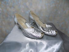 Vintage metallic silver peeptoe evening shoes Evening wear by Equality 50s 60s