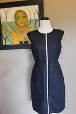 NWT J Crew Petite Patch Pocket Sheath Dress Tipped Linen NAVY Sz 4 4P $178 C7098