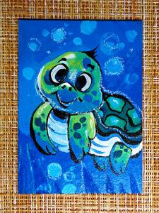 ACEO original pastel painting outsider folk art brut #010568 surreal turtle
