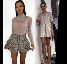 Women Sparkle Long Sleeve Bodysuit Party Top Glitter Diamond Shine T-Shirt Dress