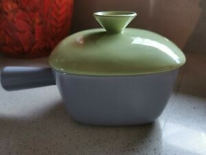 RARE 50s MİD CENTURY DIANA WARE TWO TONE GREEN /GREY LIDDED OVEN PROOF SAUCEPAN