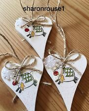 3 X Reindeer Christmas Hanging Decorations Shabby Chic Snowflakes White Bows