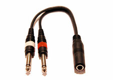 "9in 1/4"" 1/4 Inch Stereo TRS Female to 2 X 1/4 Inch Male Mono Y Splitter Cable"