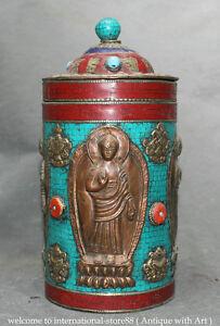 "10"" Old Tibet Turquoise Copper 8 Auspicious Symbol Shakyamuni Round Jar Pot Box"
