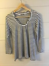 JIGSAW SIZE 12 long sleeved khaki and white striped top. Brilliant condition