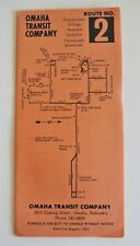 Vintage 1965 Omaha Transit Bus Schedule Timetable Route 2 Downtown NE
