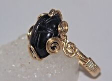 Egyptian SCARAB Ring BLACK OBSIDIAN 5 Cts Carved Gem Cabochon 14kgf Gold size 7