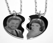 Personalized Custom Necklace Split Heart With İmage Picture Text
