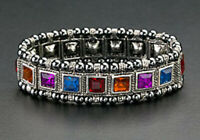 Fashion Magnetic Bracelet Therapy Hematite Beads Multi-Color Crystals Stretch