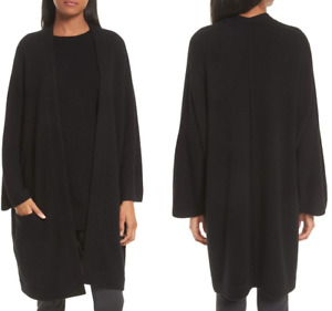 Vince $525 Cashmere Blanket Coat Cardigan in Black; S