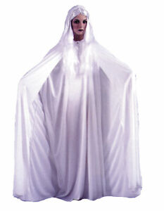 "ADULT 68"" WHITE HOODED CAPE GOTHIC VAMPIRE COSTUME DRESS FW9159"