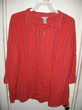 Catherines Orange Blue Red Striped Beaded Sequins Top Shirt Size 2X 22/24W New