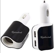 3 in 1 Way Car Cigaretter Lighter Socket Splitter 2 USB Power Charger Adapter