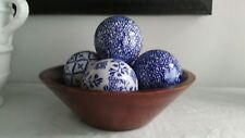 5 Blue & White Decorative Balls - (Wooden Centerpiece Bowl) Included - Set of 5