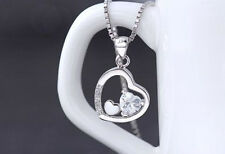 1 CT Diamond Heart in Heart LOVE S925 Sterling Silver Necklace gift #039