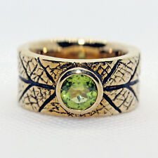 Antique style BRASS Band RING Genuine PERIDOT 1.66ct 7MM Rd Solitaire Size 8.5