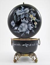 Antique French BLACK Opaline Glass JEWELRY dresser BOX - ENAMEL Decor - c.1890's