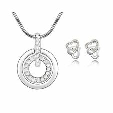 Women's Clear Stones Circle Pendant Necklace With Matching Love Heart Earrings