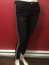 SUKO JEANS Women's Black Silver Bead Stripe Skinny Leg Jeans - Size 4 - NWT