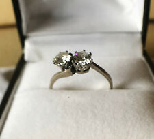 Antique diamond 2 stone crossover ring all set in 18 ct white gold