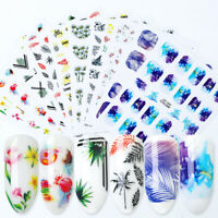 3D Nail Stickers Colorful Flower Geometry Transfer Decals Nail Art Decoration