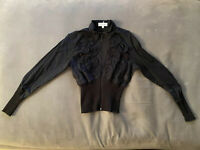 ANNE FONTAINE Black Zip up with ICONIC Ruffle Design Shirt Top 2