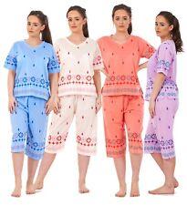 Ladies Pyjama Sets V Neck Nightwear 3/4 Shorts Printed Summer PJ's S(8)- 2XL(22)