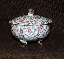 Beautiful Vintage Porcelain Round Trinket Box w/ Feet Gold Gilded Floral W/ Lid