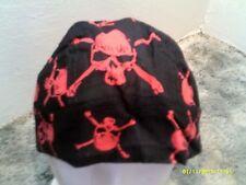 Black with Red skull  Doo Rag / Skull cap