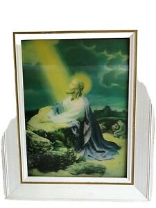 Vintage framed  3D holographic religious picture of Jesus