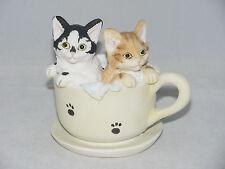 "Delton 3.5"" Resin Cat Kitten Figurine CATS IN A TEA CUP"