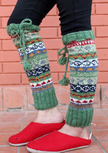 Hand Knitted Green Multicolor Winter Leg Warmers with Knitted Lace