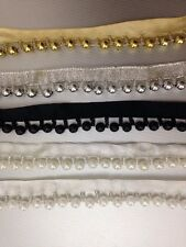 1Yard Vintage Style Pearl Beaded Lace Edging Trim Ribbon Wedding Applique 20mm