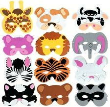 (12) Foam Zoo Animal Kids Mask Assorted Party Favor Play Lion Tiger Bear Pig Cat