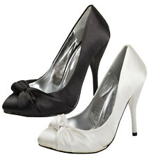 Negro De Mujer Tacón Stiletto Zapatos Damas Nupcial Boda Dama De Honor Court Shoe