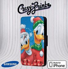 Xmas Donald Duck Daisy Duck Christmas Phone Cover Leather Flip Case V11