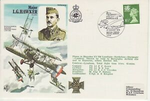 GB Stamps RAF Souvenir Cover Major LG Hawker VC, DSO, WWI, military, medal 1979