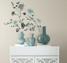 New Blue Gray WATERCOLOR BLOSSOMS & BIRDS WALL DECALS  Branch Flowers Stickers