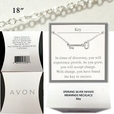 KEY Necklace - Sterling Silver -  Infinite Meaning Collection 18' chain NIB Avon