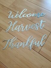 """Lot of 3 Galvanized Metal Words Harvest Thankful Welcome Set 9""""x3"""""""