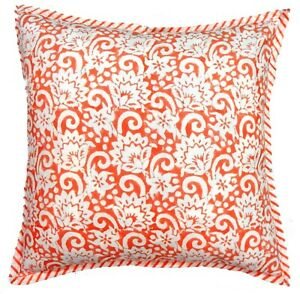 "Floral Cushion Cover Home Decor 16"" Indian Handmade Cotton Pillow Case Sofa Sham"