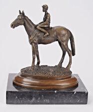 BRONZE SKULPTUR PFERD REITER MARMORSOCKEL SIGNIER HORSE AND RIDER