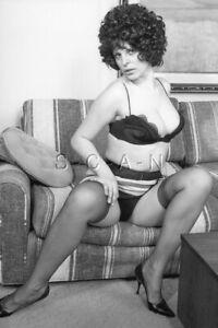 Semi Nude B/W Photo- Brunette- Curly Hair- Bra- Stockings- Legs- Heels- Panties