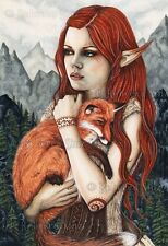 Fantasy Art LARGE SIZE PRINT Fox Elf Trees Mountains Friends Pet Shaman orange