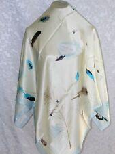 New Charmeuse Silk Scarf Elegant Falling Feathers Blue