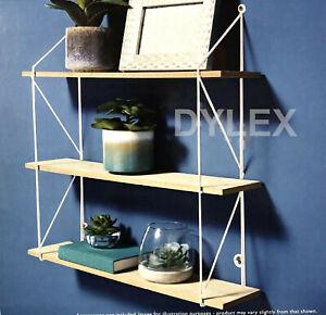 3 Tier Shelf Wall Hanging Shelves White Metal Frame Wooden Shelves Storage Decor